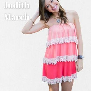 Judith March Tiered Ombré Coral Lace Sundress